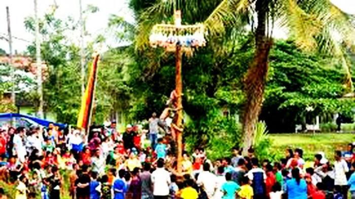 Panjjek batang pinang bagomok salah satu kegiatan perayaan 17 Agustus