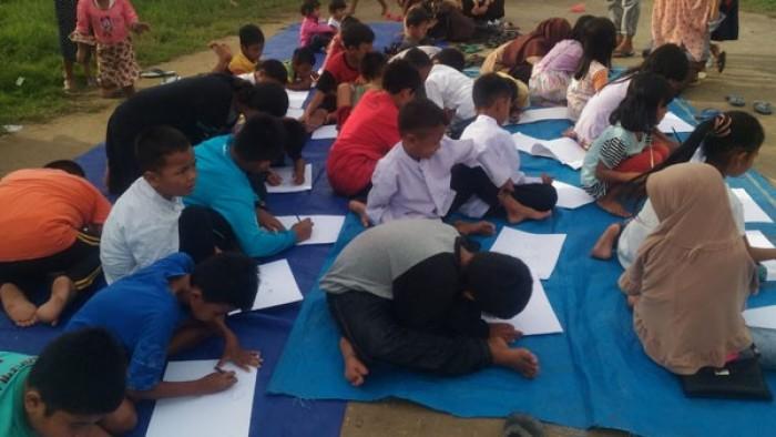 Semangat anak-anak Korong Kasai berkesenian mengkuti program Ke Rumah Nan Tumpah